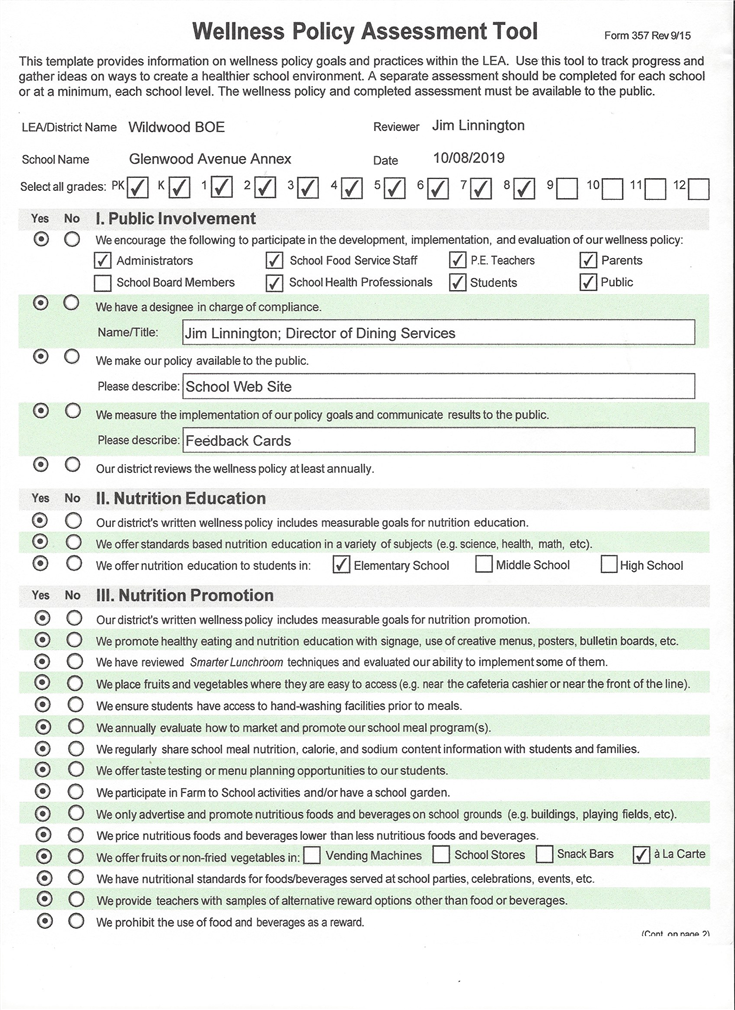 Wellness Policy Assessment Tool